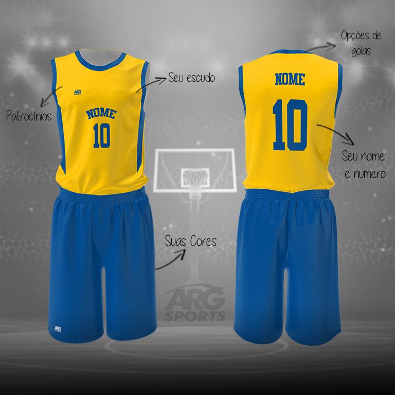 Kit Basquete Personalizado Amarelo e Azul – B010
