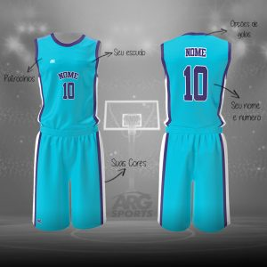 Kit Basquete  Personalizado Azul Celeste - B014